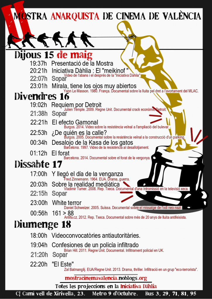 II Mostra Anarquista de cinema de València | Mostra Anarquista de Cinema de València